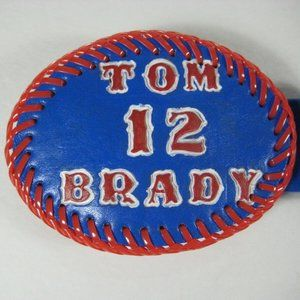"Tom Brady Commemorative Leather Belt Fits 29""-34"""